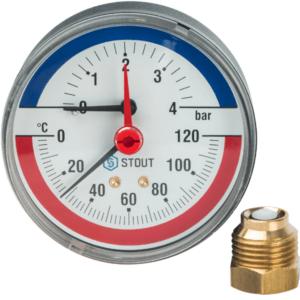 Термоманометр аксиальный 4б STOUT