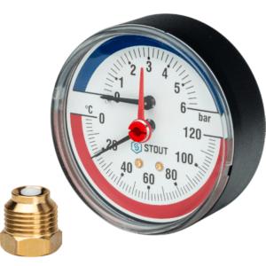 Термоманометр аксиальный 6б STOUT