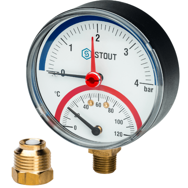 Термоманометр радиальный 4б STOUT