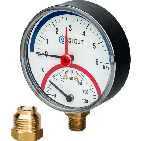 Термоманометр радиальный 6б STOUT