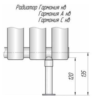 Трубчатый радиатор КЗТО Гармония 2-400 (445мм)